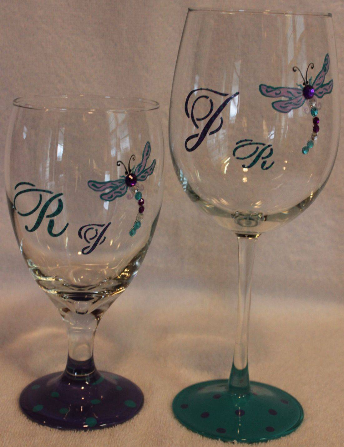 dragonfly wine glass, dragonfly water glass, dragonfly goblet