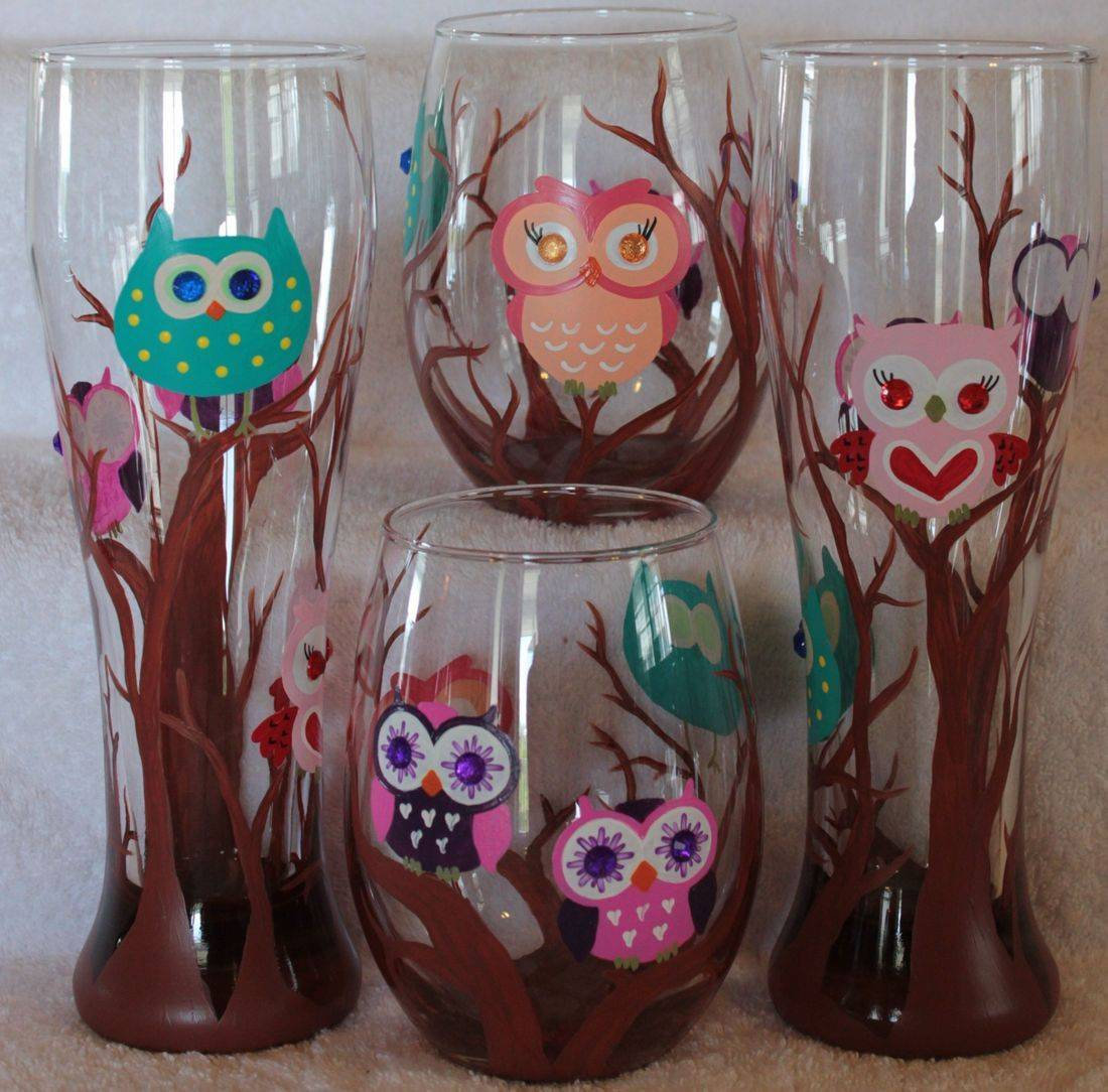 owl beer glass, owl wine glass