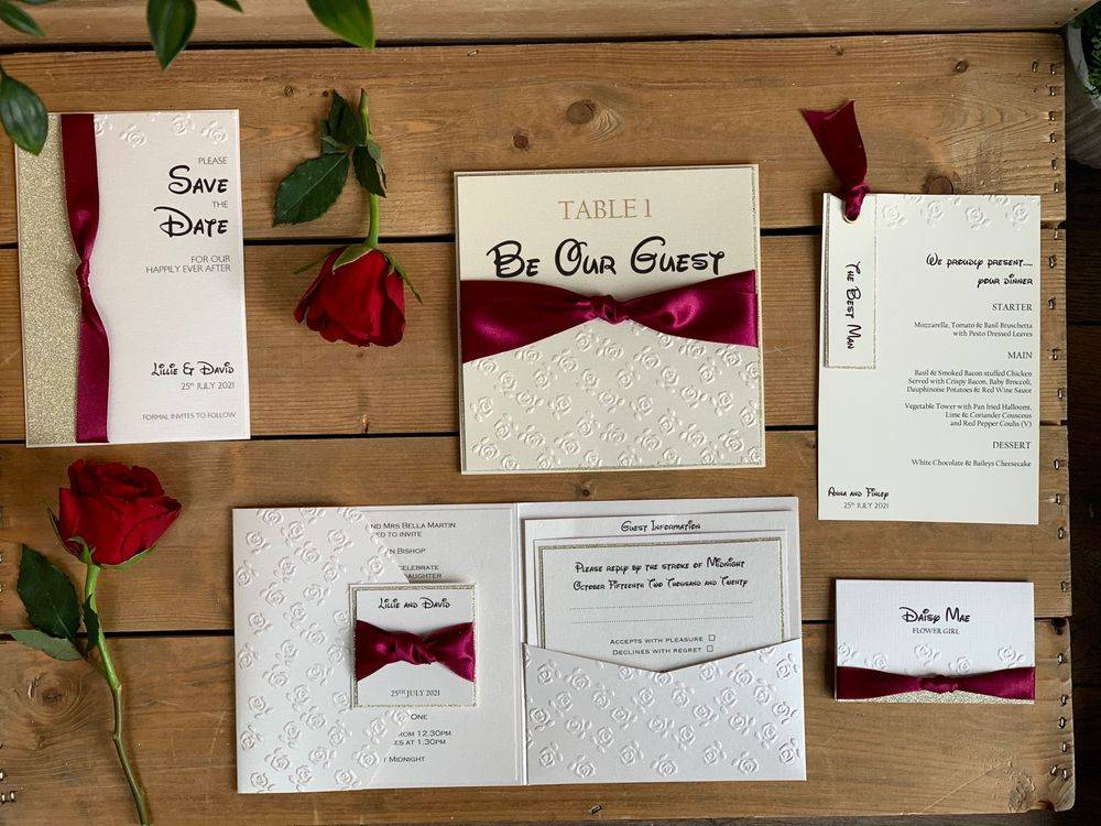 Disney Wedding Stationery, Beauty and the Beast theme