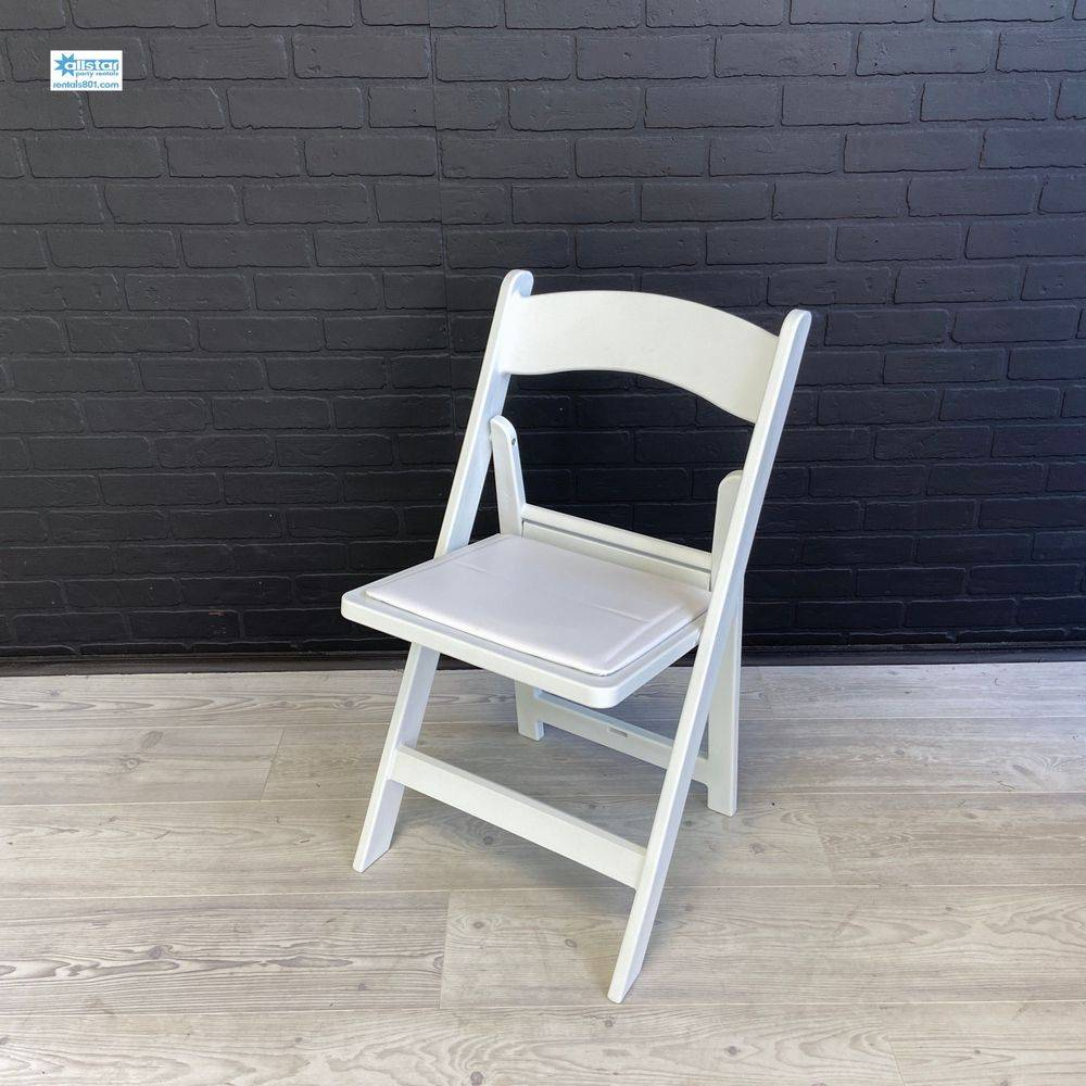 White Padded Chair.  www.rentals801.com/chairs
