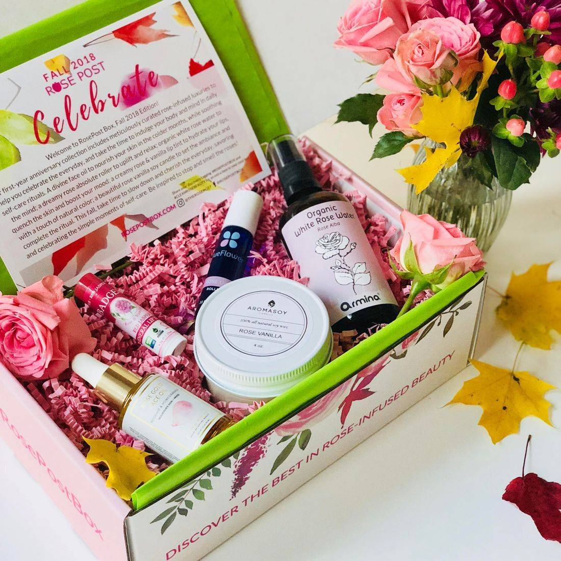 Best Rose skincare, Rose Gift Box, RosePost Fall '18 Box, RosePost Box, Green Beauty Subscription, Rose Beauty Box, Green Beauty Box, Rose Skincare, Clean Rose Beauty