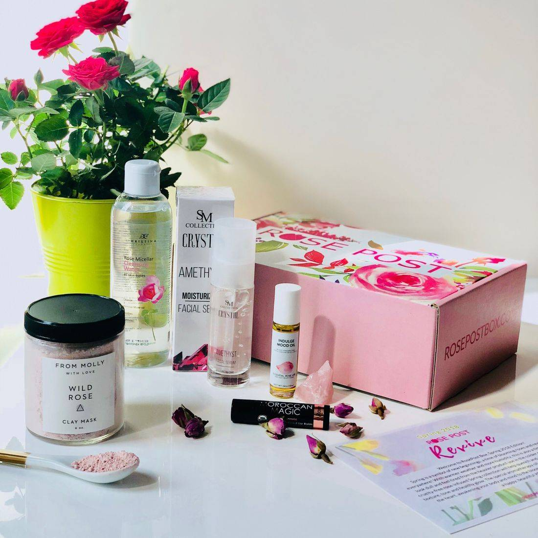 RosePost Box, Green Beauty Box, Spring '18 RosePost Box, Rose-infused Beauty, clean beauty, rose oil skincare