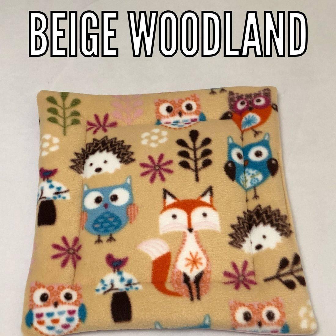 beige woodland polar fleece fabric