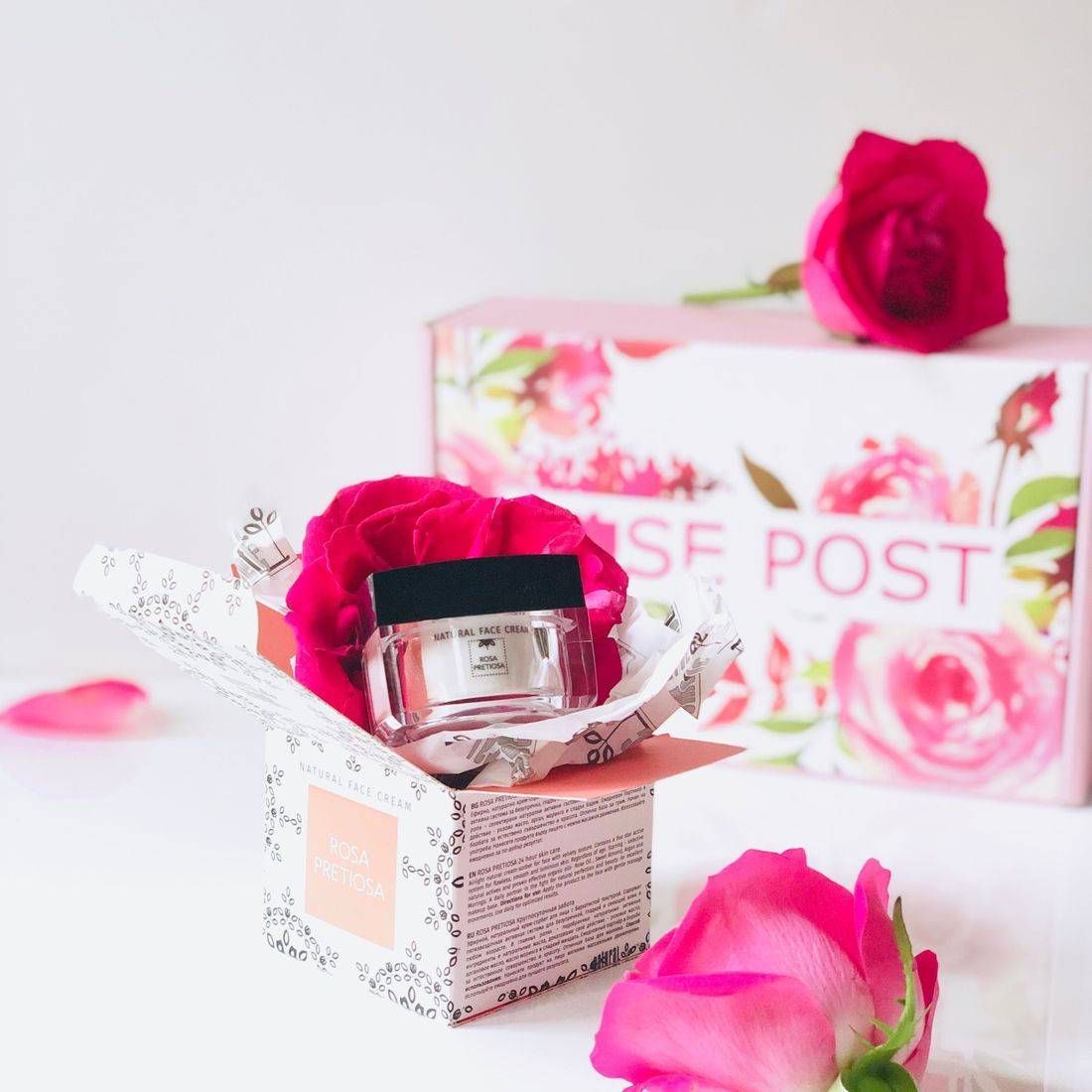 eco beauty box, rosa pretiosa natural face cream, rose water, organic rose cream, rosepostbox, natural cosmetic, clean beauty, rose moisturizer