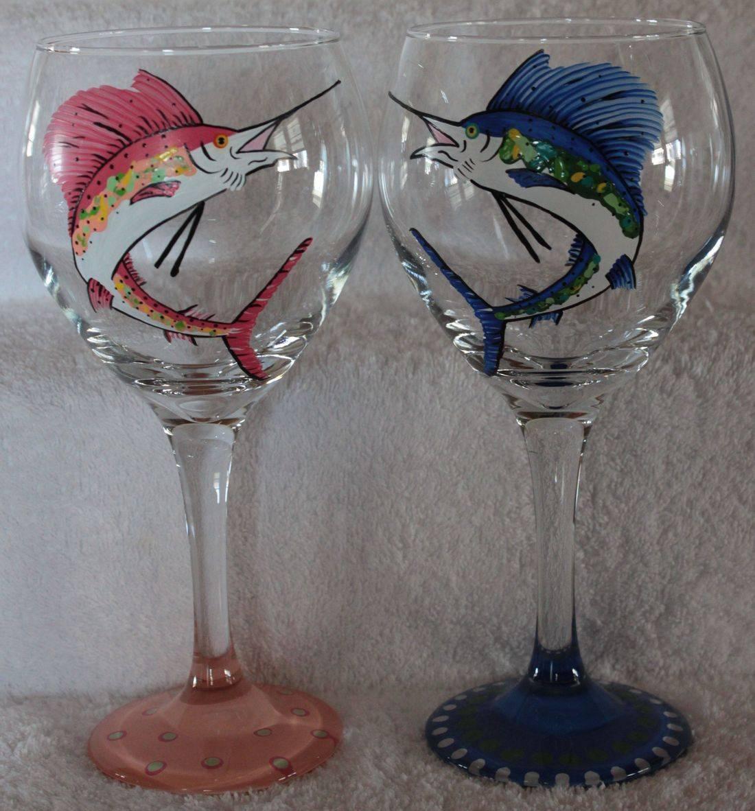 Sailfish wine glass, hand painted wine, marlin wine glass
