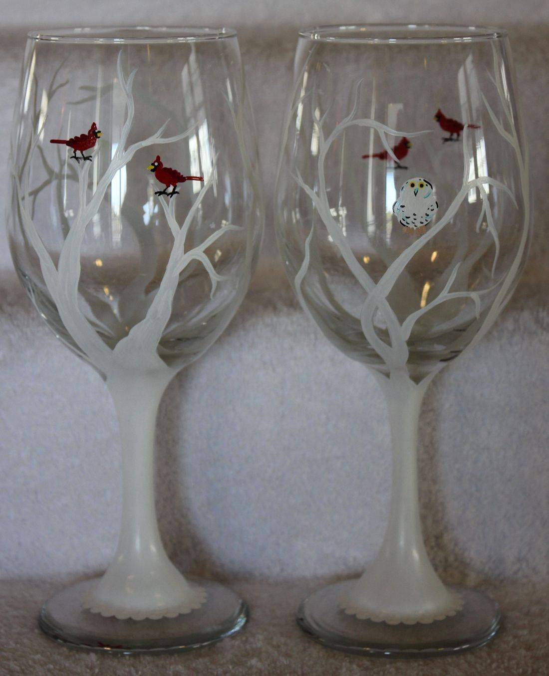 white tree wine glass