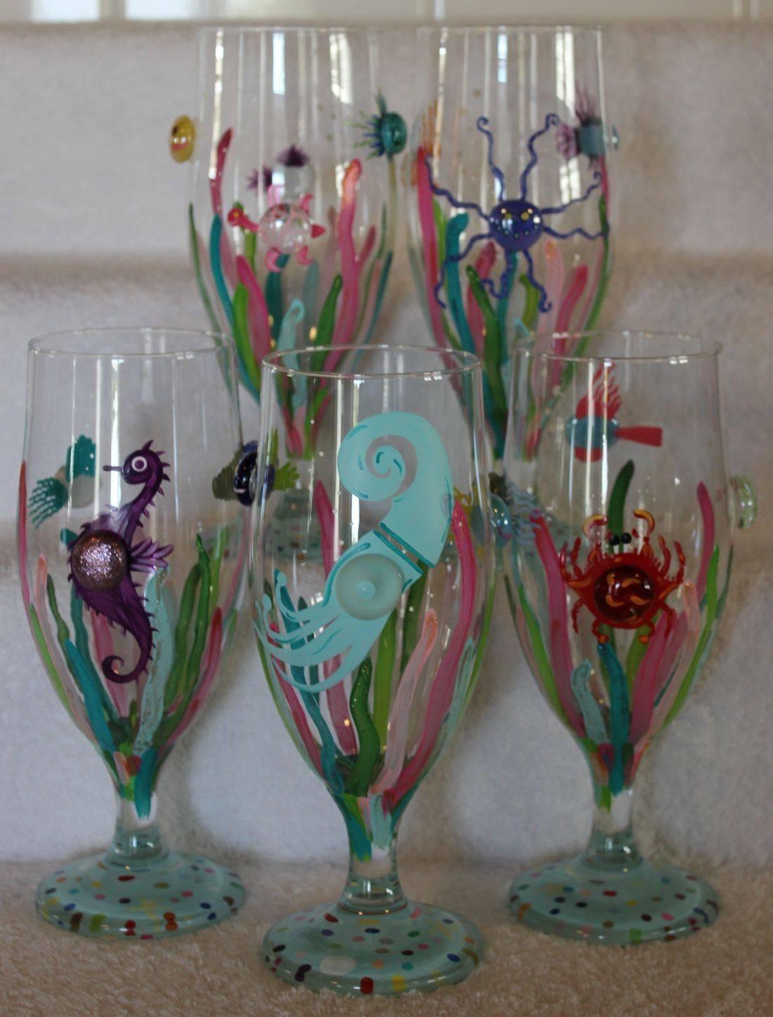 crab wine glass, nautical wine glass