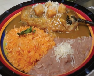 chile relleno, rice, beans