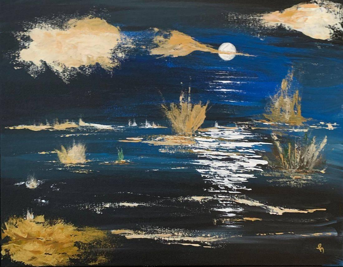 Lilypad, night sky, harvest moon, full moon, gold clouds, Oregon Artist, Abstract Artist, Local Artist, Hope Angel Fine Art