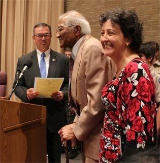 Warner Robins Mayor Randy Toms, Charles Bell, and Bonnie