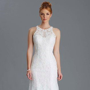 High neck wedding dress, ivory lace
