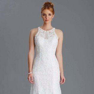 High neck wedding dress, ivory lace