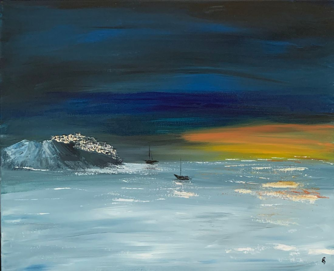 Village, night sky, sailboats, Oregon Artist, Abstract Artist, Local Artist, Hope Angel Fine Art