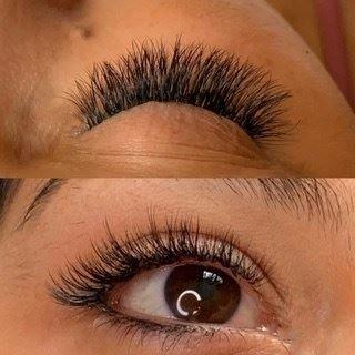 Russian Volume Eyelash extensions. a natural look B curl