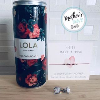Mother's Day gift, LOLA sparkling wine tin, wish bracelet, druzy earrings, exhalo spa gift card, barrhaven moms