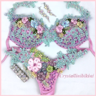 pink wbff stage bikini