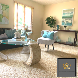 home staging teal living room main living area colorful cheerful