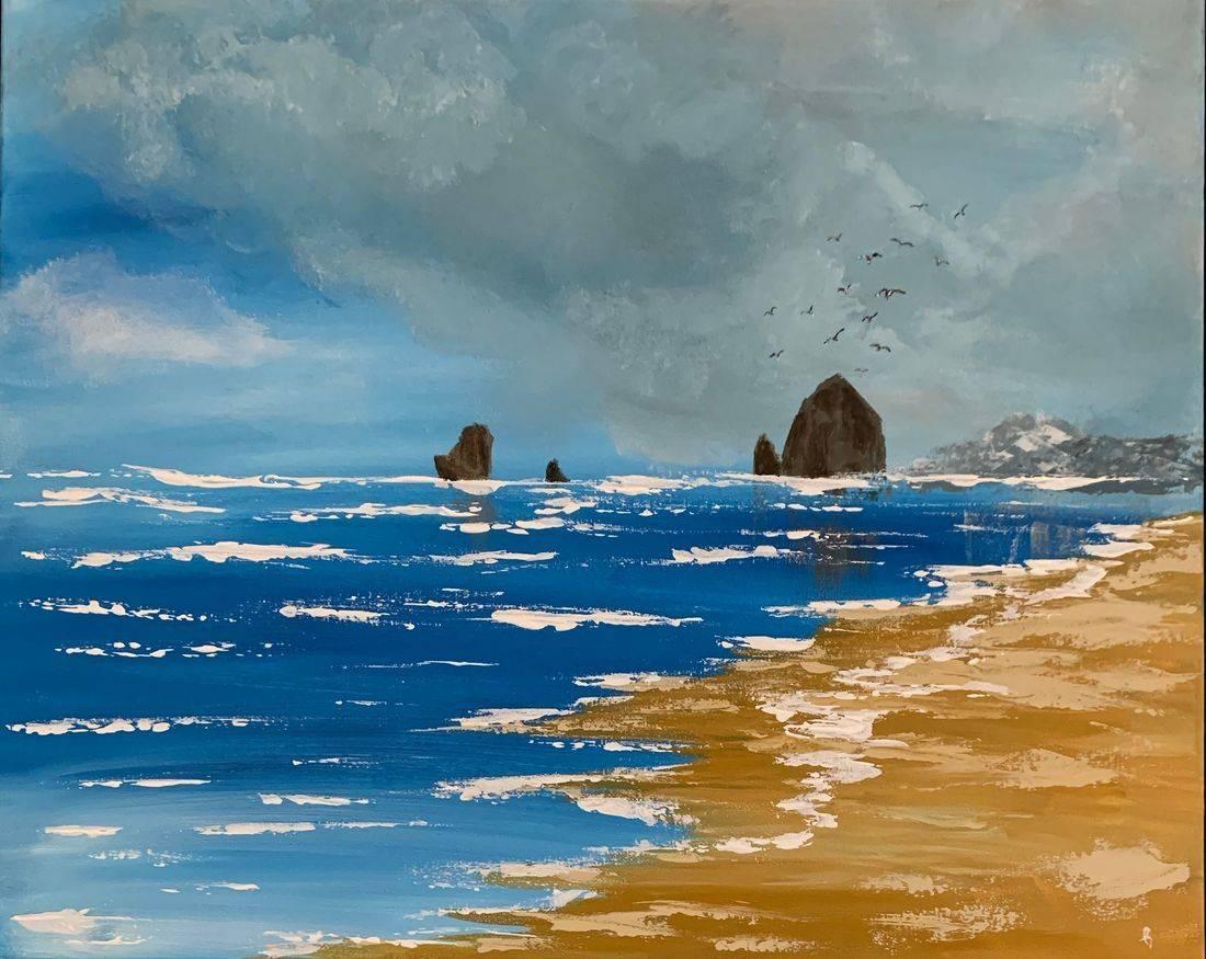 Oregon Coast, Haystack Rock, ocean, beach, Oregon Artist, Abstract Artist, Local Artist, Hope Angel Fine Art