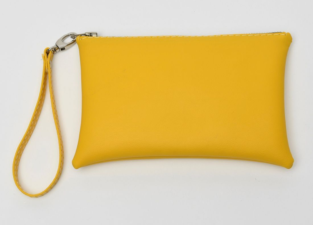 Yellow wristlet, wristlet, leather bag, designer bag, yellow clutch, small yellow bag