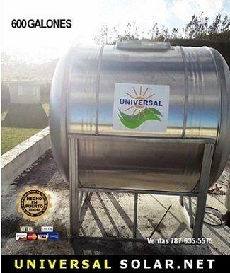 Tanque de agua en stainless steel sobre base