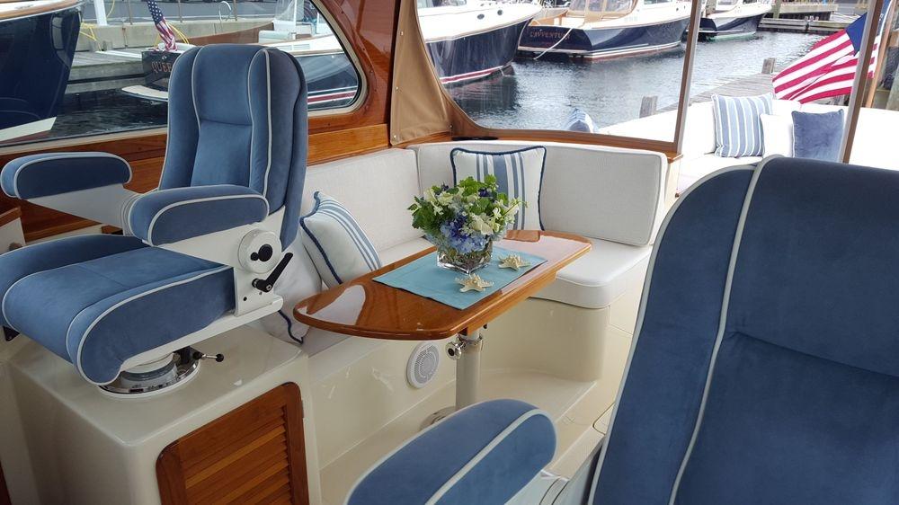 Hinckley yachts, Hinckley PB40, Newport Yacht Interiors, Ultrasuede, Ralph Lauren fabrics