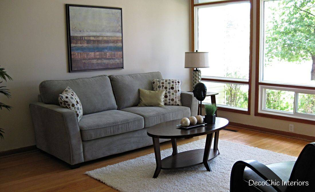 staging winnipeg living room mid century polka dots certified staging professional realestate staging expert decochic interiors