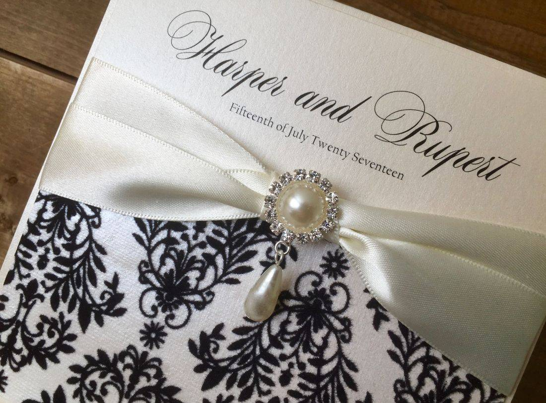 Luxury Wedding Invitation in Ivory and Black with Pearl Drop