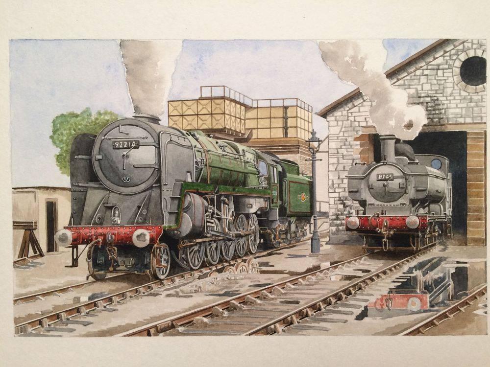 Bath - Park Green Shed 2-10-0 9F No 92214 and BR Tank No 8745 - Watercolour : £350