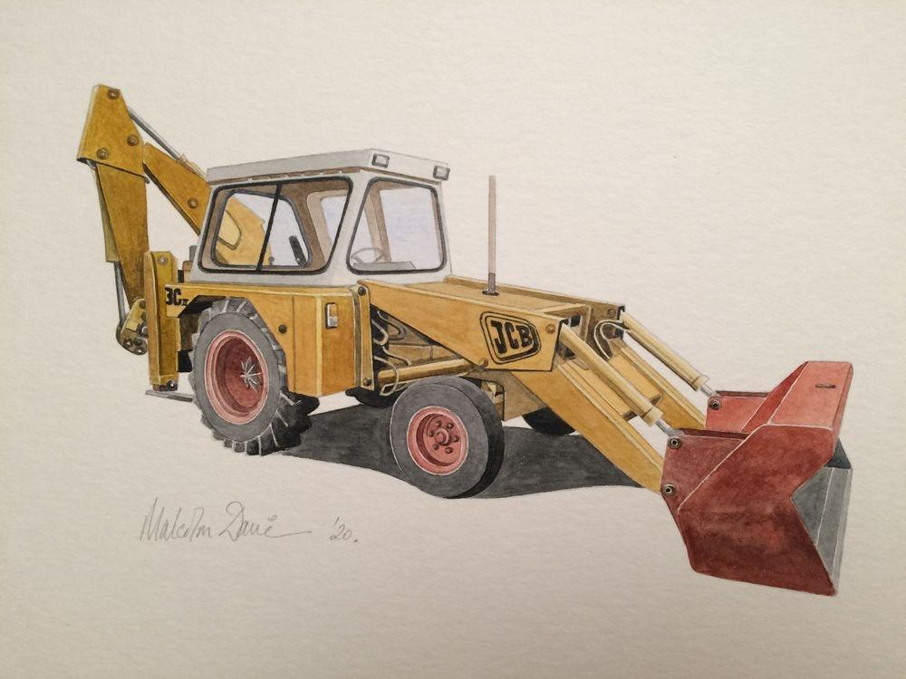 Classic JCB Digger 3C Mk II (Size A4) : Watercolour - £55.00