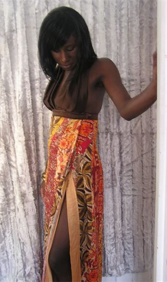 1.Golden chocolate Nubian style dress. Made with Satin,Cotton and a light poly.