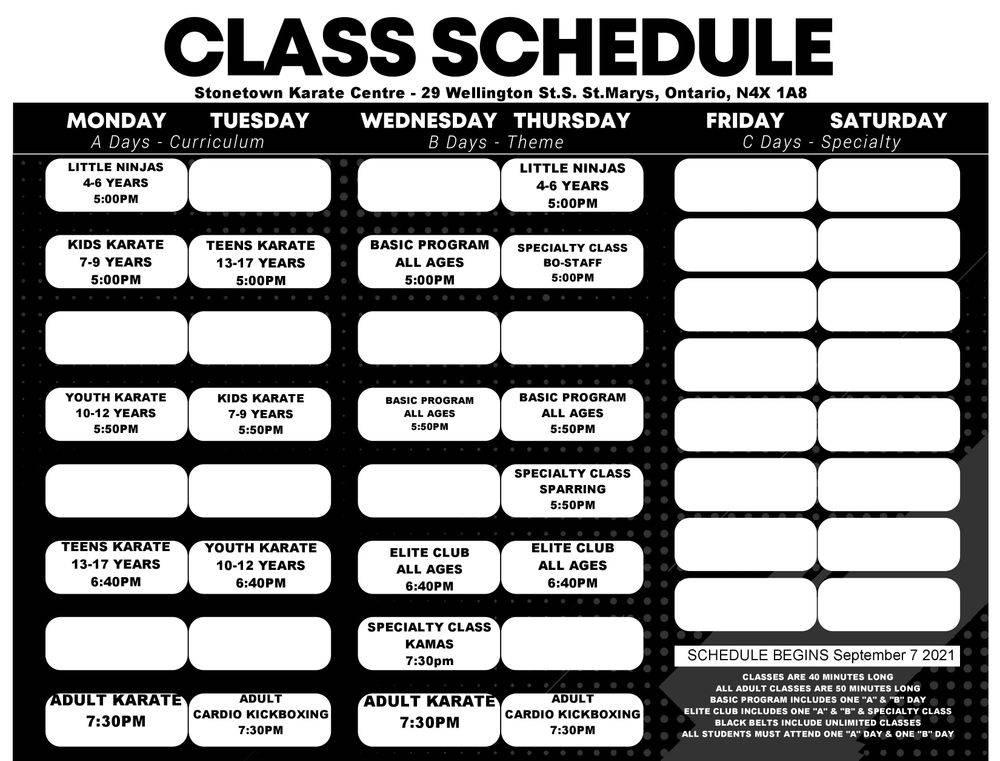 Karate class schedule at Stonetown Karate Centre Inc.