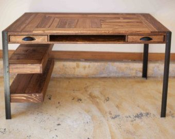 bespoke wooden desk with metal legs