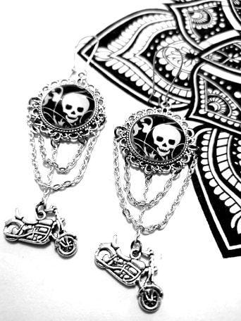 boucles d'oreilles tête de mort, boucles d'oreilles rock, , Bijoux rock, bijoux crâne, bijoux tête de mort, bijoux Biker, bijoux rockabilly, bijoux pinup, Skull, crâne, tête de mort, bijoux artisanaux, Rock'n'Babe, rocknbabe, rocknbabeshop, moto