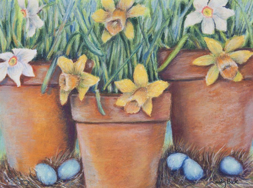 pastel illustration, pastel artist, illustration artist, custom art, custom illustration, custom painting, spring art, spring, daffodils, robins eggs