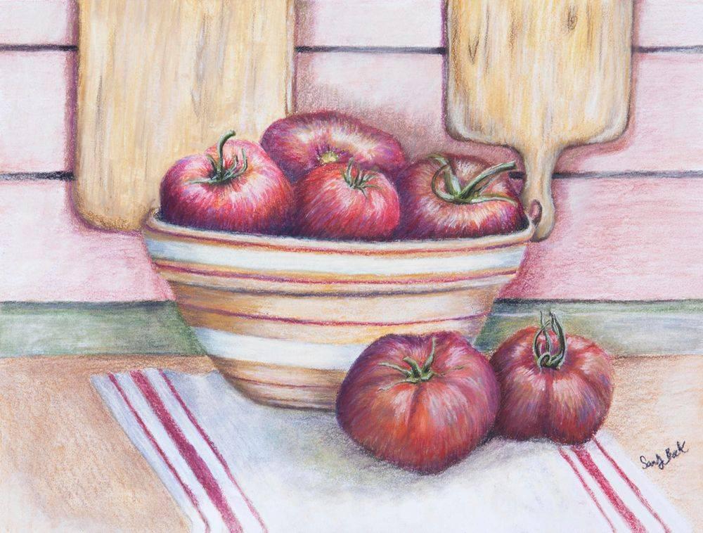 sandy bock, artist, illustrator, summer, pastel art, kitchen art, garden tomatoes, local artist