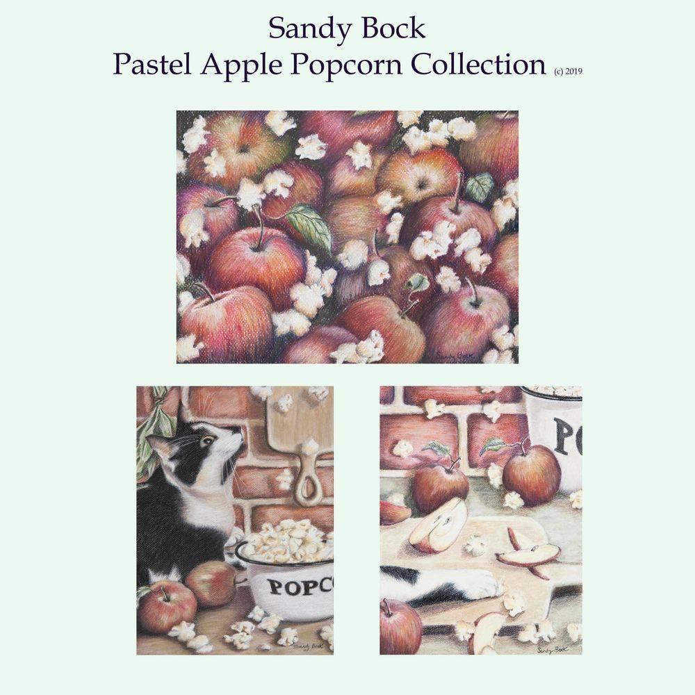 sandy bock, pastel art, local artist, cleveland artist, cat, autumn art, fall art, popcorn, apples, autumn illustration