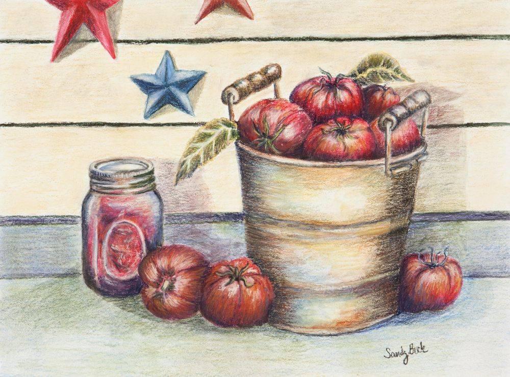 sandy bock, local artist, illustrator, pastel artist, garden art, cleveland artist, tomatoes