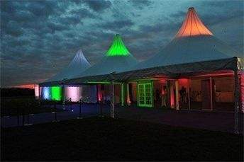 White pleated lining with LED pealight canopy throughout