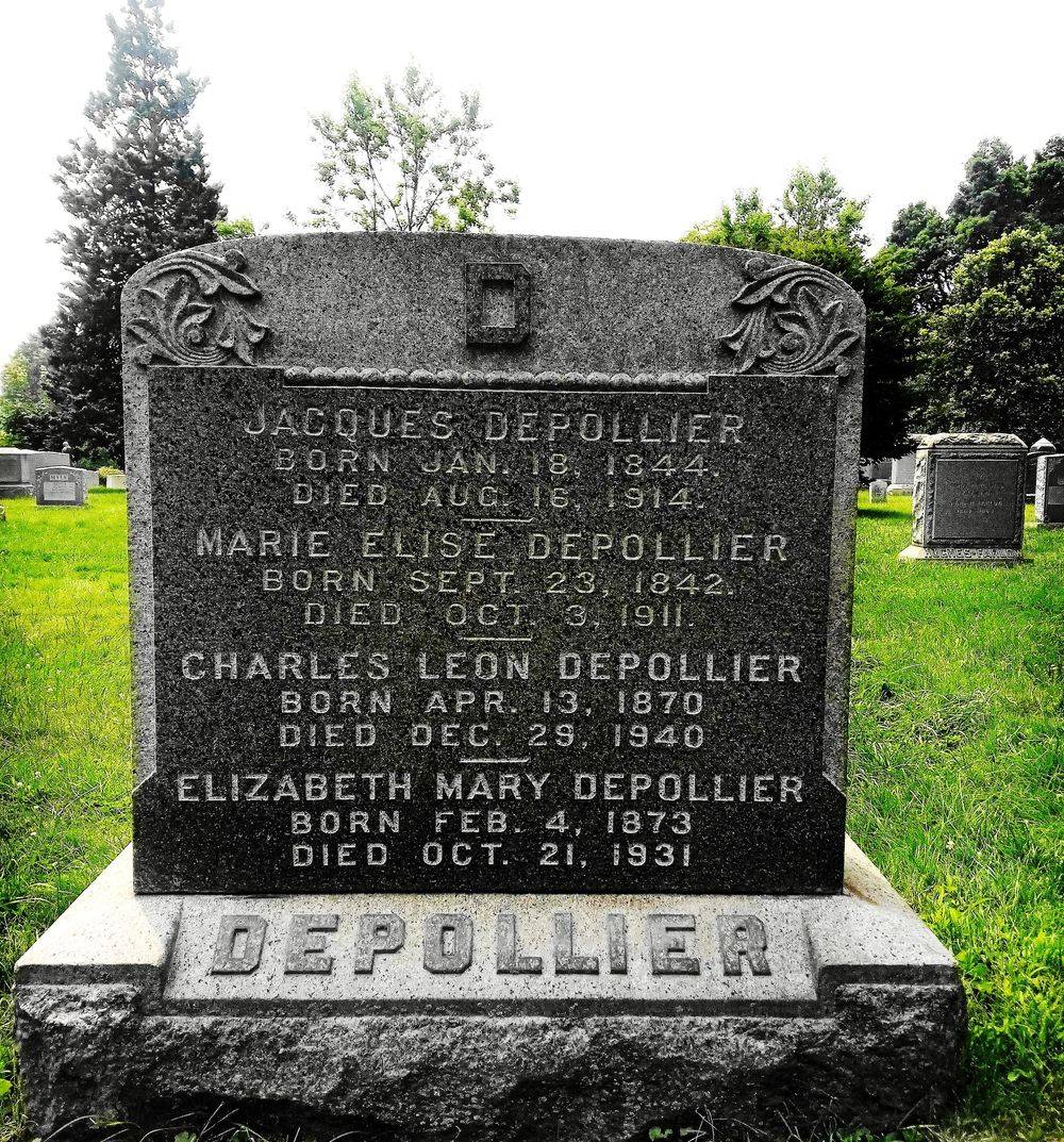 The Depollier Family Plot Headstone, now engraved with the names of Charles & Elizabeth Depollier.