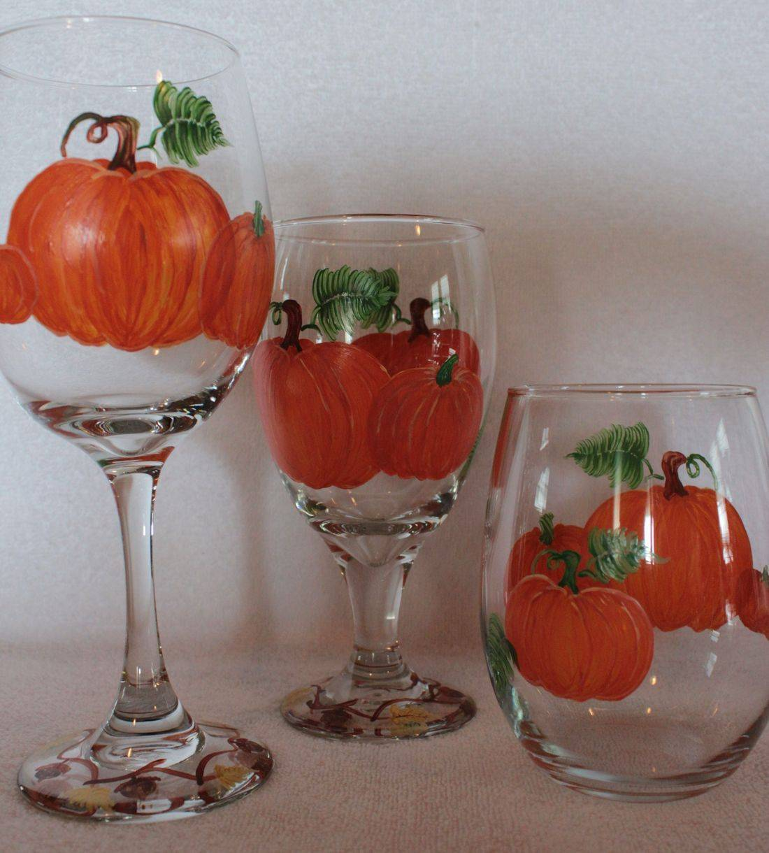 fall wine glass, pumpkin wine glass