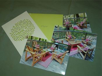 Portland Oregon customers thank you letter and photos of her Zebra Strip Cedar Adirondack Chairs and Coffee Table