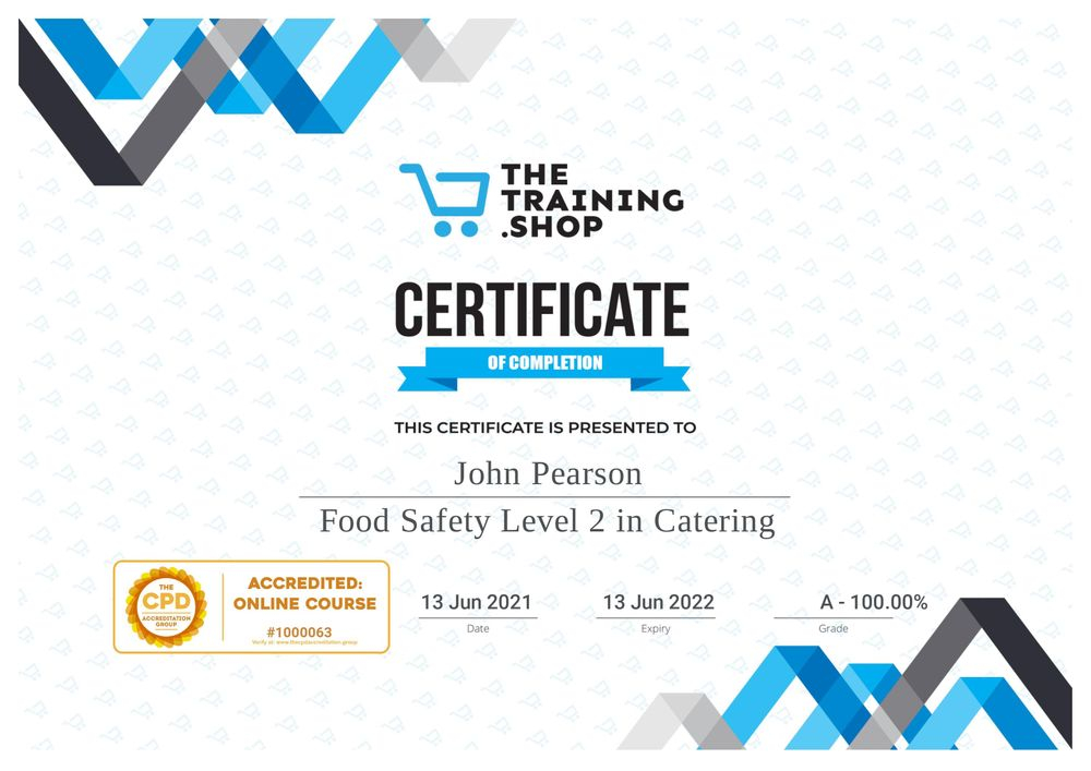 Our certificate of food safety and hygiene, City and Guilds Level two for our fish and chip van.