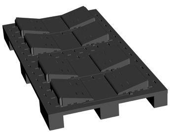 9 Fuß-Rollenpalette mit Rollenlagerungskeilsystem verstellbar