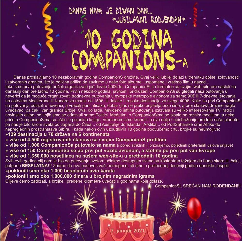 CompanionS Serbia, CompanionS rodjendan, deset godina CompanionS, putovanja, CompanionS putovanja, jeftina putovanja, putuj jeftino