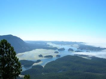 'Eagles view' of Tofino from Lone Cone Mountain on Meares Island.