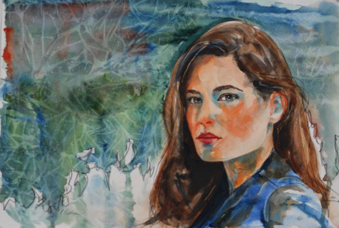 Watercolor painting portrait of young woman by Rebecca/Becky Krutsinger