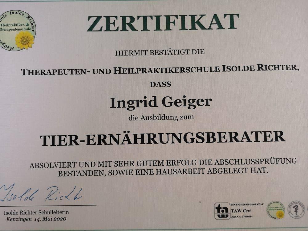Zertifikat Tierernährungsberater