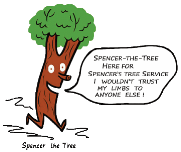 Spencer-the-Tree for Spencer's Tree Service, professional tree care for the Monterey Peninsula since 1976, tree removal, tree trimming, free safety assessments, storm clean up, stump removal,