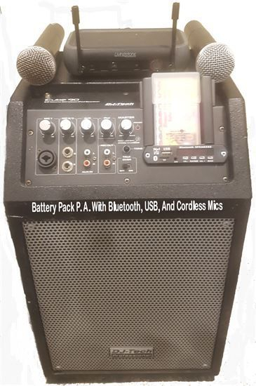 Battery Pack P.A. System With Bluetooth, Cordless Mic, And USB For Music
