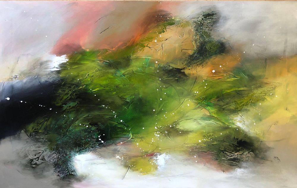 Flotte-abstrakte-farverige-malerier-grøn
